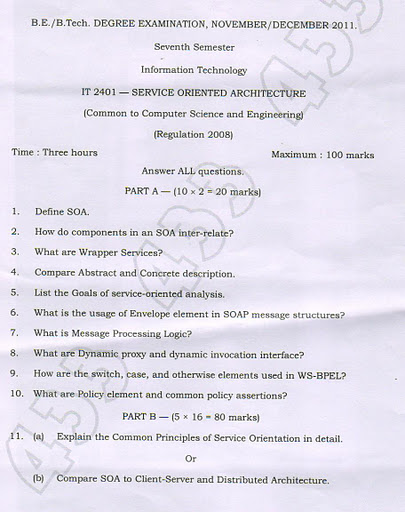 It Service Oriented Architecture Old Anna University Exam