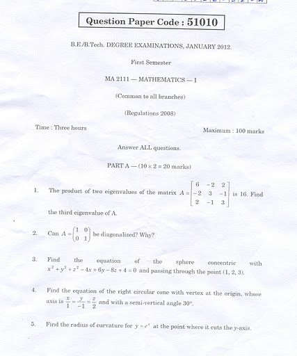 Aug 11, 2012 ENGINEERING MATHS I MA2111 FORMULA MATERIALS Click here to download ENGINEERING MATHS I MA2111 QUESTION PAPERS University Question Papers - Click here ENGINEERING MATHS I MA2111 QUESTION BANK - I Click here to Download ENGINEERING MATHS I MA2111 QUESTION BANK - II UNIT-I Notes  Click here UNIT-II Notes  Click here UNIT-III Notes